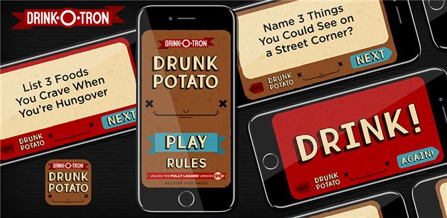 Logo for Drunk Potato: Drink-O-Tron Games Drinking Game